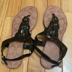 Coach floral patent blk sandal brand new 8